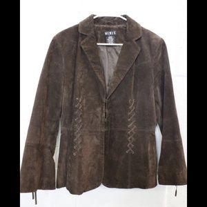 Mixit Women's Dark Brown Leather Jacket Sz L